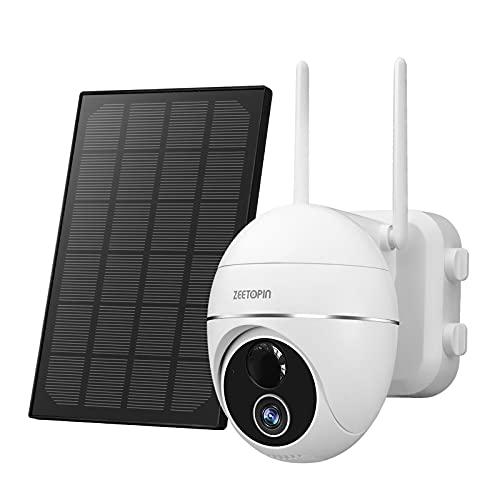 Caméra de Surveillance avec Panneau Solaire 355 ° / 140 ° pivotante Caméra IP sans Fil Extérieure sur Batterie 15000mAh détecteur de Mouvement PIR,Audio bidirectionnel,Vision Nocturne,étanche IP66