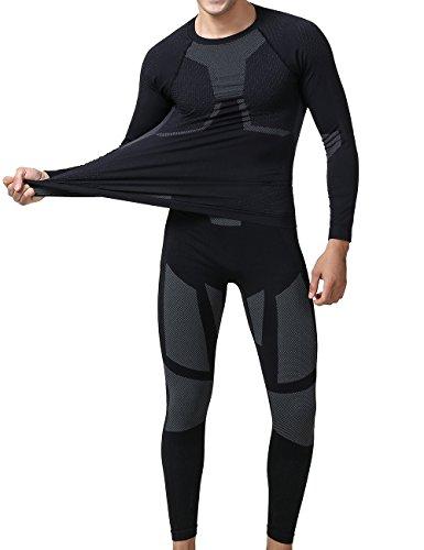 YOOY Herren Ski Unterwäsche Boy Thermounterwäsche Set Thermo Shirt Sport Funktionswäsche Garnitur für Herren Grau L