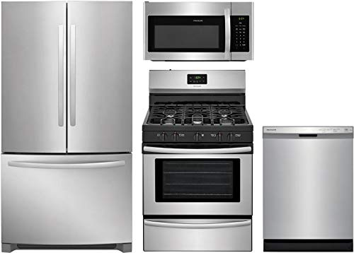 "Frigidaire 4 Piece Kitchen Appliance Package with FFHN2750TS 36"" French Door Refrigerator FFGF3052TS 30"" Gas Range FFMV1645TS 30"" Over the Range Microwave and FFCD2418US 24"" Built In Full Console Dishwasher in Stainless Steel"