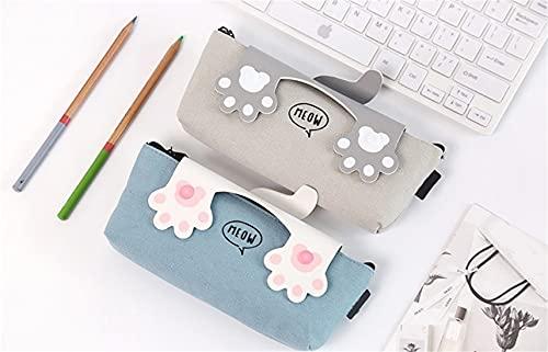 Been Estuche creativo con diseño de huellas de gato de lona, estuche de dibujos animados de gato, bolsa con cremallera (gris y blanco)