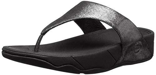 FitFlop Lulu Shimmersuede - Sandalias para mujer, color negro, talla 38 EU (5 UK)
