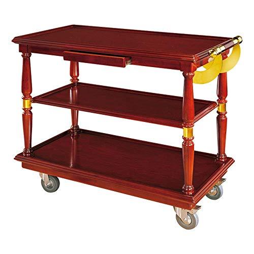 B-K Vier Räder Portable Tool Storage Cart Shelf Trolley, Edelstahl Beauty Car, Schöne und Stabile Restaurant, Teewagen, Mahagoni Utility Cart, rot