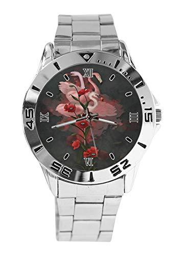 Flamingo Poppy Floral Moda Mujer Relojes de Pulsera Reloj Deportivo para Hombres Casual Acero Inoxidable Correa Analógico Cuarzo Reloj de Pulsera