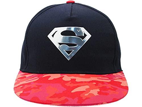 Fashion UK Gorra oficial de Super Man con logotipo en relieve, producto con licencia, visera de camuflaje, color azul (58)