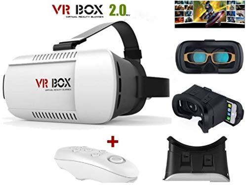 iMojo VR Box V2.0 - Auricular de Realidad Virtual con Gafas 3D y Mando a Distancia Bluetooth para teléfono móvil Universal, iPhone, Samsung, HTC, Android, iOS, Ver películas en 3D y Videojuegos