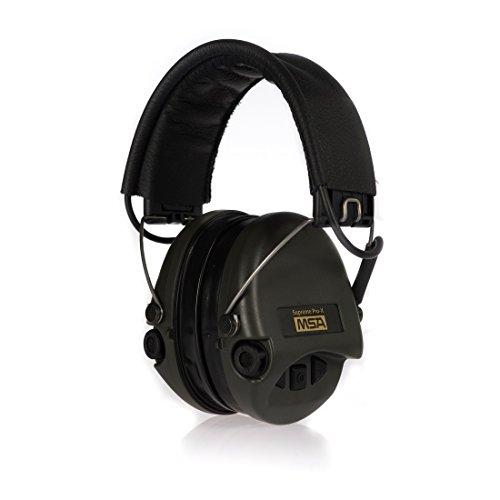 MSA Sordin Supreme Pro X - Aktiver Profigehörschutz, inkl. superbequeme Gelkissen / Ausführung: schwarzes Lederband u. grüne Cups / AUX-Eingang