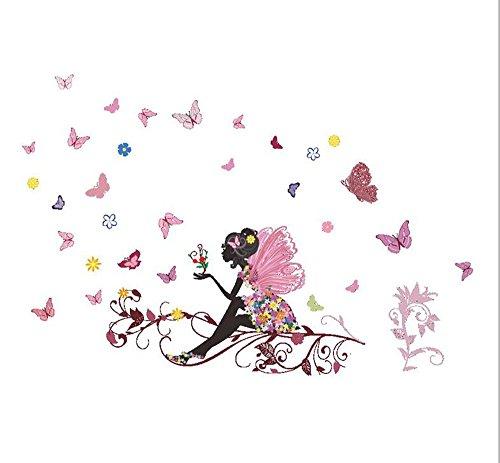 Moonuy Nouveaux Cartoon Autocollants de f/ée de Fleur de Papillon f/ée chambre Salon mur Autocollant vinyle butterfly Mural D/écoration de Chambre de fille D/éco Chambre de b/éb/é Enfant A