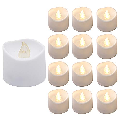 Tealight Candles with Flickering Flame, Actpe 12pcs Amber Flicker LED Tea Lights Wax Dripped Battery Operated Candle Unscented Small Led Flameless Candles with Timer -6hr On-18 Hr Off for Xmas Wedding