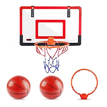 Over The Door Basketball Hoop Indoor with 2 Rims and Balls | Kids Mini Hoops for Bedroom Inground | Toddler Activity Play Toys for Boys and Teens as Gift