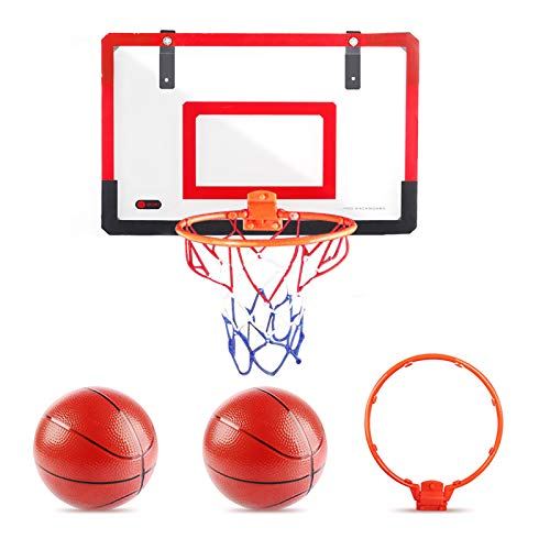 YGJT Canasta Baloncesto Infantil Pared Mini Tablero Canastas de Baloncesto Habitacion Puerta Exterior y Interior para Adulto Niños 3 4 5 Años Juegos al Aire Libre con Pelota de Basket Aro Red