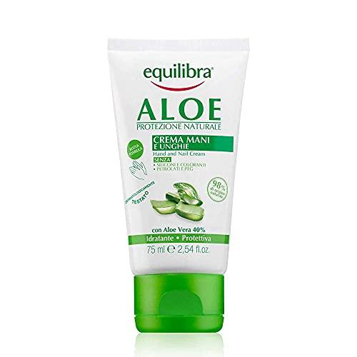 Equilibra Cuidado Corporal, Crema de Manos y Uñas a Base de Aloe Vera con Acción Hidratante, Calmante, Protectora y Reequilibrante de la Piel, Rápida Absorción, 75 ml