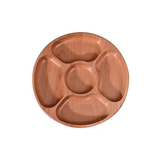DYXYH Cinco compartimentos, caja de tuerca, bandeja de frutas secas, bandeja creativa para aperitivos, bandeja redonda de madera maciza