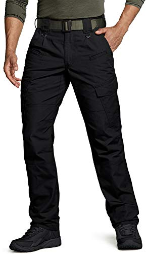 CQR Men's Tactical Pants, Water Repellent Ripstop Cargo Pants, Lightweight EDC Hiking Work Pants, Outdoor Apparel, Duratex(tlp108) - Black, 36W x 30L