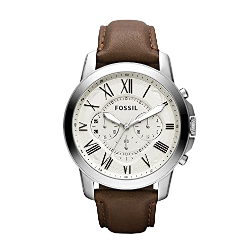 Fossil Men's Grant Quartz Stainless Steel and Leather Chronograph Watch, Color: Silver, Brown (Model: FS4735IE)