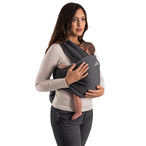 Babytragetuch | Babytrage | 100% Bio-Baumwolle | Tragetuch | Für Neugeborene Bis 15kg | Aus Europäischer Herstellung | Atmungsaktiv | Ohne Künstliches Elastan | Von Laleni (Grau) - 2