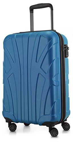 Suitline Handgepäck Hartschalen-Koffer Koffer Trolley Rollkoffer Reisekoffer, TSA, 55 cm, ca. 34 Liter, 100{74ef58514b80c7038370926b39bf9ad5221fd4013d64385868129c45ee3998e9} ABS Matt, Cyanblau