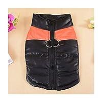 冬の暖かいペットの犬のベスト服小型犬防水ジャケットジャケットチワワレインコート全体ペットの子犬服 着脱が簡単、冷間・防水 (Color : Orange Stripe, Size : L)