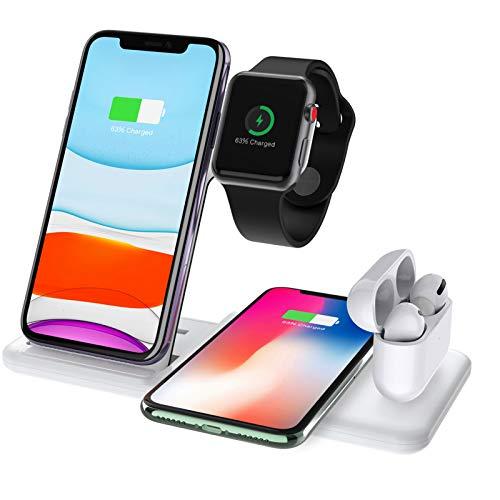 LTLJX Cargador inalámbrico Rápido, Estación de Carga Rápida Qi Inalámbrica Soportes de Carga de para AirPods 2/Pro, para Samsung/iPhone 12/11/11 Pro/X/XS MAX/Huawei,Blanco