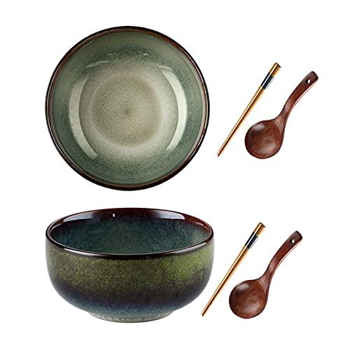 Conjunto de cuencos de ramen de cerámica, 32 oz Sopa de ramen grande de 32 oz Sirviendo cuencos de ramen japoneses, para 2 personas, para ramen, Pho, ensalada, sopa, incluye palillos de madera.