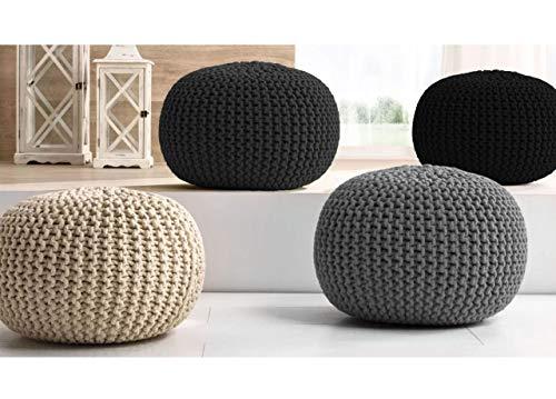 CapitanCasa Pouf Arredo Design Rotondo con Tessuto Intrecciato in Cotone Colore Nero