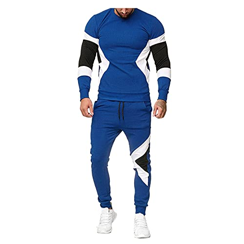 MITCOWBOYS Chándal para hombre, ligero, deportivo, para tiempo libre, ropa deportiva, chándal, chándal, chándal, chándal, chándal, chándal, pantalón de chándal, azul, S