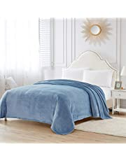 Bourina Reversible Faux Fur Micromink Throw Blanket Lightweight Super Soft Cozy Luxury for Bed or Sofa ALL SEASONS
