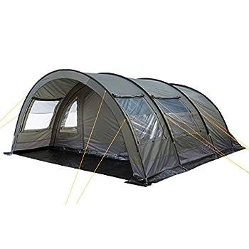 CampFeuer Tente Tunnel pour 6 Personnes Relax6   Tente Tunnel Variable avec Cabine de Couchage séparable et 5.000 mm de Colonne d'eau   Tente de Groupe   Tente de Camping (Gris - Olive)