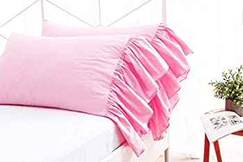 RAINBOWLINENS Set of 2 Ruffled Pillow Cases 400 Thread Count 100% Egyptian Cotton Solid Pink Queen  20x30 INCH