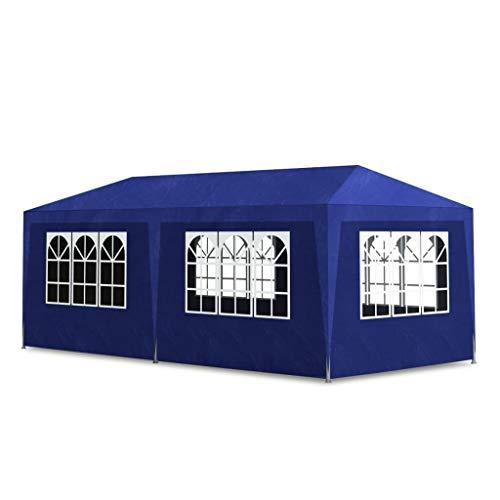 vidaXL Tenda per Feste 3x6 m Blu in Acciaio e PE Tendone da Giardino Gazebo