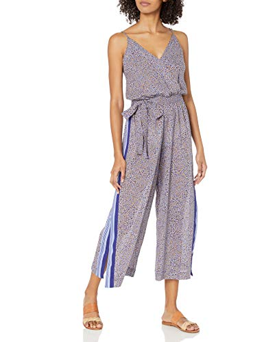 Seafolly Women's Printed Wrap Front Jumpsuit Swimsuit Cover Up, Spirit Animal Reflex Blue, Small