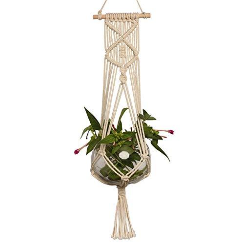 Macramé natural colgador de planta, interior al aire libre colgante maceta cesta de algodón cuerda macetas soporte (maceta no incluido), Style_C