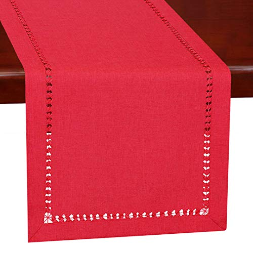 Grelucgo Handmade Hemstitched Christmas Holiday Red Rectangle Table Runners Dresser Scarves 14 X 60 Inch