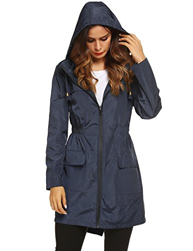 LOMON Women Waterproof Raincoat Hooded Lightweight Windbreaker Outdoor Anorak Jacket Navy Blue