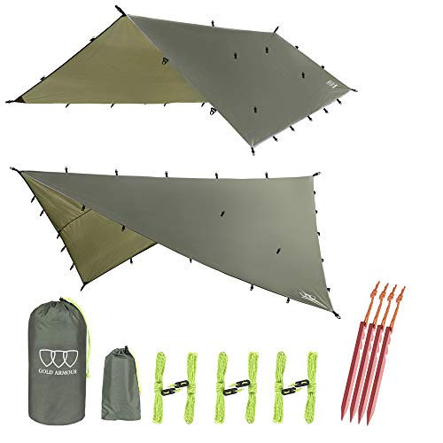 Gold Armour Rainfly Tarp Hammock, 14.7ft/12ft/10ft/8ft Rain Fly Cover, Waterproof Ultralight Ripstop Fabric, Survival Gear Backpacking Camping Tent Accessories (OD Green, 10ft x 10ft)
