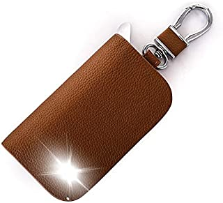 Leather Car Key Case Cover Key Wallet Bag Keychain Holder for SsangYong Rexton Musso XLV Tivoli Korando Rodius Actyon Accessory Color Name Brown Size Whitout Logo