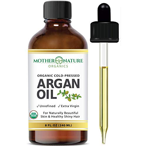 Premium USDA Certified Organic Moroccan Argan Oil – Vegan Beauty & Healthy Skin, Hair & Nails – Cold Pressed Unrefined Pure Argan Oil Hydrates and Rejuvenates – Non-Greasy, Hexane Free, Non-GMO (8oz) Mother Nature Organics Superfoods for Organic Living