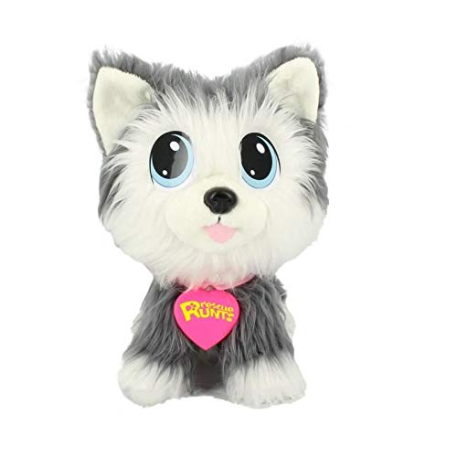 Rescue Runts, Peluche Husky à adopter, Peluche enfant, jouet vétérinaire, gris, blanc, 3 ans et plus
