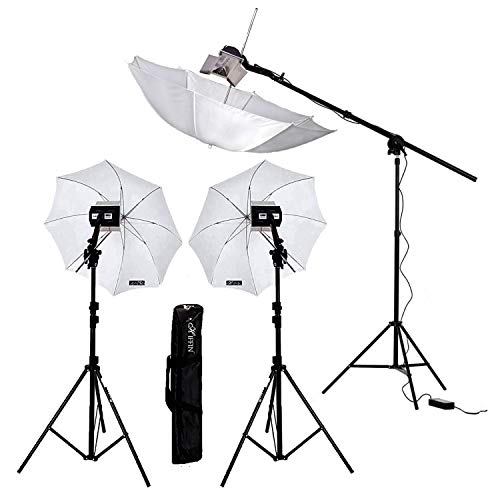 HIFFIN® Studio Home Umbrella Stand Setup with Sungun Adapter B-Bracket and 3 Point Set with Continuous/Video Light with 1000 Watt Halogen Tube (3 Point B4 Light Photography Kit)