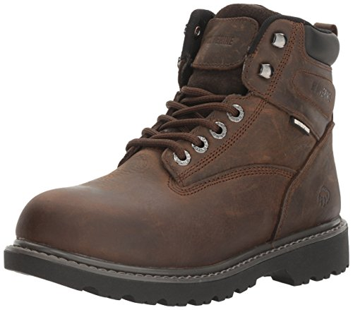 "WOLVERINE Women's Floodhand Waterproof 6"" Soft Toe Work Boot, Dark Brown, 5.5"