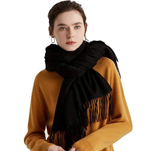 Vegena Damen Warm Schal,Klassische Volltonfarbe Cashmere Kopftücher,Tücher mit Quasten/fransen,200CM × 70CM Pashminas Schwarz