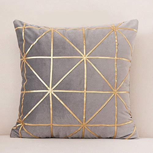 Miwaimao Juego de almohada de terciopelo con estampado en caliente y moderno nórdico, funda de almohada decorativa para sofá o dormitorio, 45 x 45 cm, color gris claro