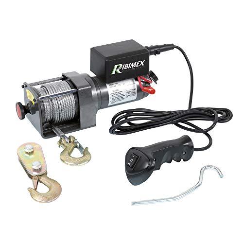 Ribimex PE12V/2500 Argano Elettrico Da Fissare 12 V, Portata 1.100-2.200 Kg, Grigio