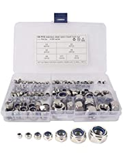 185pcs RVS Borgmoer Assortiment Kit Lock Nut Set Duurzaam Nylon Insert Hex Nut Set