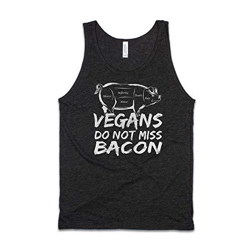 Vegan Veggie Tank Top Pig Bacon Slogan para hombre y mujer con estampado gráfico Cami Chaleco Tee Negro Negro L