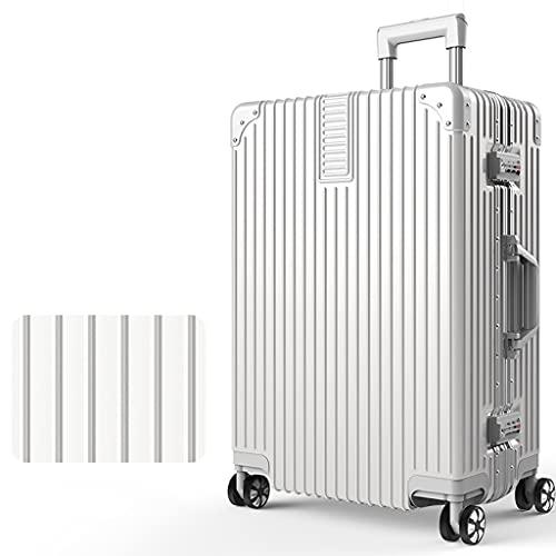 LOMJK Maleta de aleación de aleación de Aluminio ABS + PC, Carro de Viaje, Maleta de Viajes de Gran Capacidad -29 Pulgadas (Color : White, tamaño : 22 Inches)
