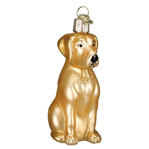 Old World Christmas Dog Collection Glass Blown Ornaments for Christmas Tree,Yellow Labrador