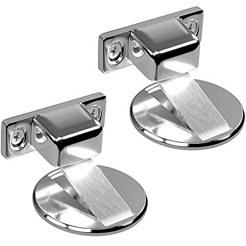 UUSETT Door Stopper 2 Pack, Magnetic Stainless Steel Door Stop, No Drilling Doorstopper for Security, Works for The Door Gap Between 0.2-0.4 Inch (Silver)