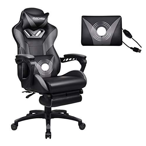 ARTETHYS Gaming Stuhl Massagefunktion Bütostuhl mit Verstellbarer Kopfstützte, Fußstütze, Armlehne 360 °Drehbar Ergonomischer PC Stuhl Höhenverstellbares Chefsessel (Grau)