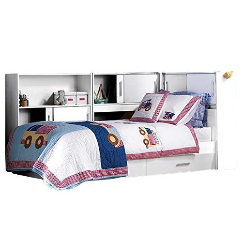 Funktionsbett Tyler 90 * 200 cm weiß inkl. Regale + Bettkästen Jugend Kinderzimmer Liege