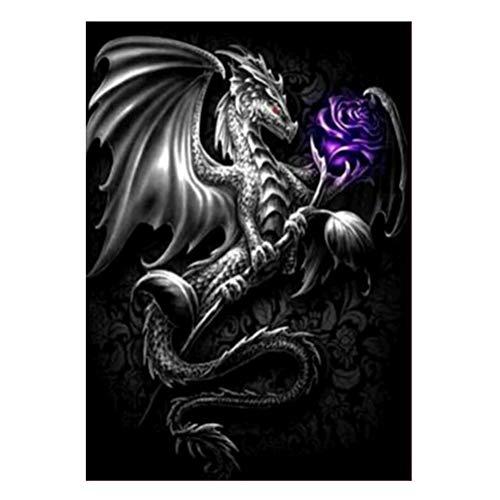 VORCOOL DIY 5d Diamante Pintura dragón patrón Rhinestone Bordado Kit de Punto de Cruz decoración de la Pared artesanía 7608